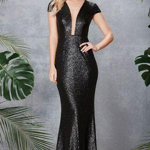 Population Michelle Sequin Gown BLACK Size L #54